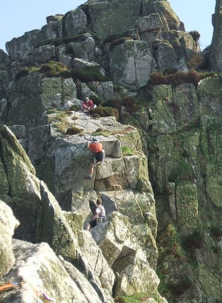 Rock Climbing Photo: Rob Davies on the optional final pitch to the ridg...