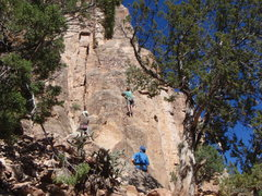 Rock Climbing Photo: Allen TR'ing the clean slab of Wall Street.