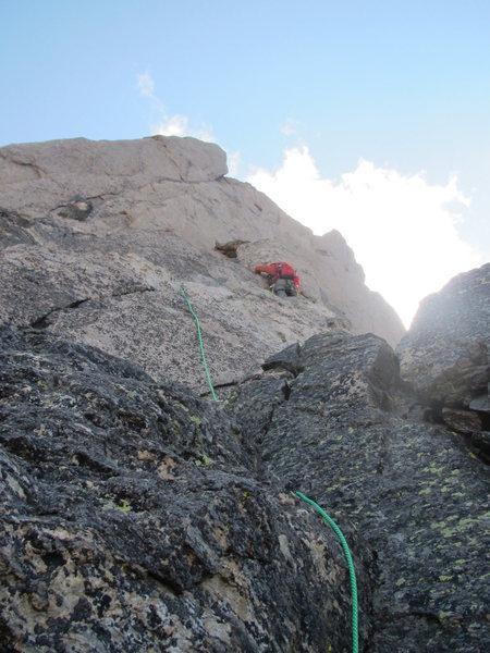 Pablo Climbing west face of Longs Peak Keyhole Rigde route