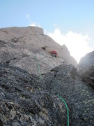 Rock Climbing Photo: Pablo Climbing west face of Longs Peak Keyhole Rig...