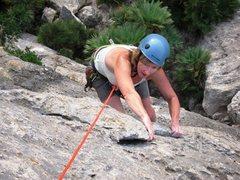Rock Climbing Photo: Getting past the short roof on Curset at La Crevet...