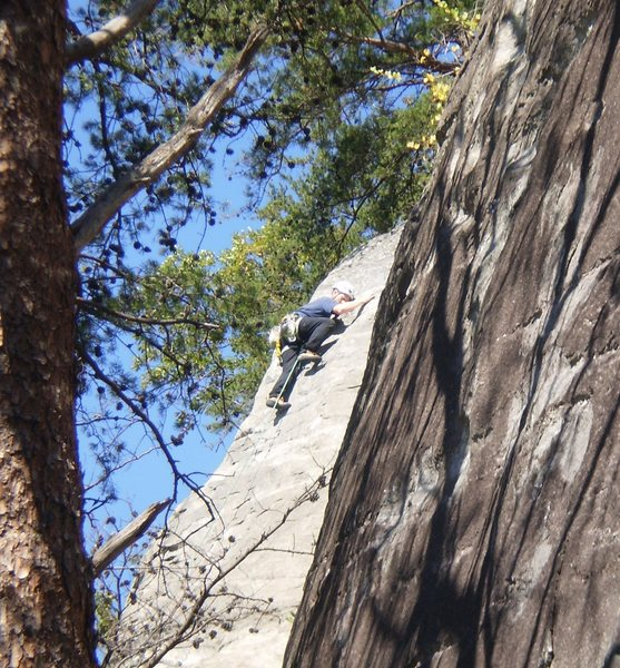 JP at the slabby crux near the top of Bear Hunt.