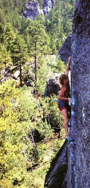 Rock Climbing Photo: Rusty Lewis on Mothra (5.13a), Mt. Rushmore.  Phot...