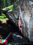 Rock Climbing Photo: Caitlin working the Chick Problem on a beautiful d...