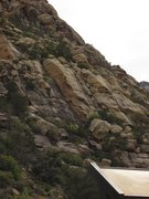 Rock Climbing Photo: From the sign on the left up the gravel road past ...