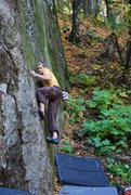 Rock Climbing Photo: Checkmate crux #1 getting worked by Adam Van Strat...