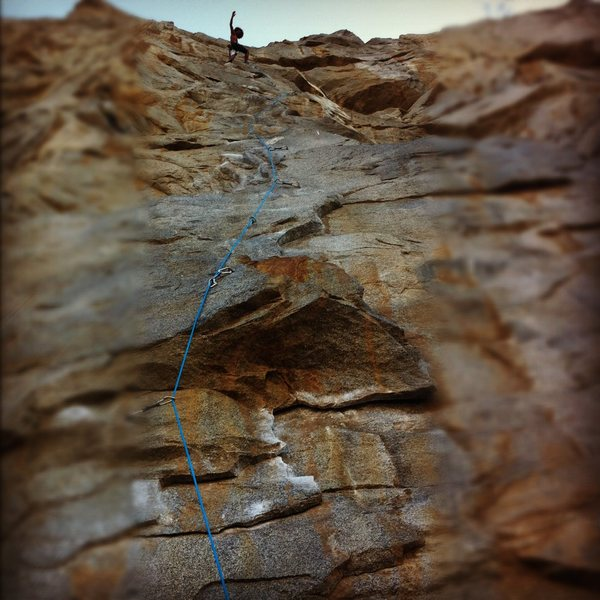 Rock Climbing Photo: John Daniels clipping the chains on the classic Tr...