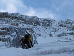 Rock Climbing Photo: Ice climbing NE Face W, Tahquitz, February 2010