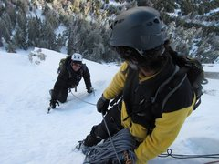 Rock Climbing Photo: Looking down NE Face W, Tahquitz, in ice condition...