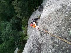 Rock Climbing Photo: Climber going up the crack