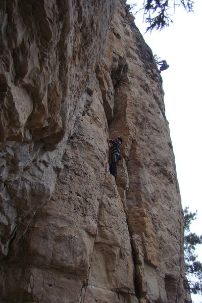 Left side of The Prow.<br> Climbers on Bald/Shaved, 5.10c and Albert's Arete, 5.10d.<br> <br> The Prow, First Wall.<br> <br> Spearfish Canyon, South Dakota.