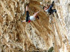 Rock Climbing Photo: My chunky ginger. Makin' the hard clean after an e...