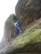 Rock Climbing Photo: Trying to get established in the overhanging slot ...