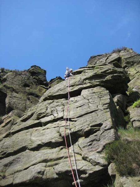 Halfway up Tower Face (photo by Phil Ashton)