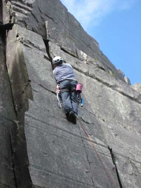 Rock Climbing Photo: The wider section of crack at the top