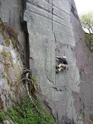 Rock Climbing Photo: The hard way to do the start by laybacking