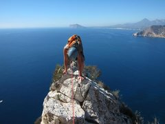 Rock Climbing Photo: Finish of Pitch 5 of Valencianos extended all the ...