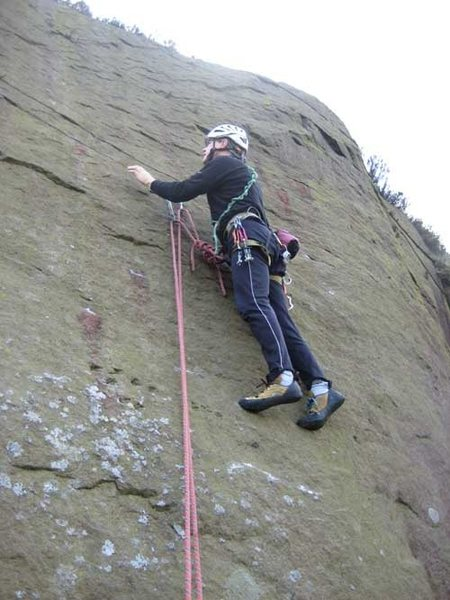 Looking for gear on Millwheel Wall (photo: Phil Ashton)