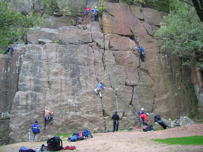 Rock Climbing Photo: This area gets busy on days when more exposed crag...