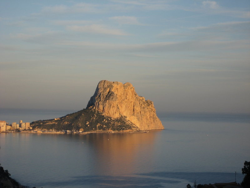 The main face of Penon d'Ifach at sunset