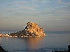 Rock Climbing Photo: The main face of Penon d'Ifach at sunset