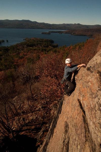Rock Climbing Photo: wake and bake at Shelving Rock in the ADKs