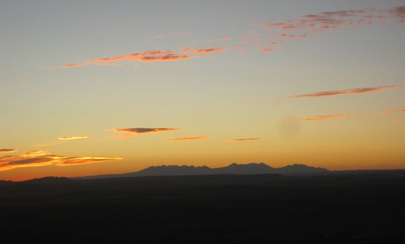 The sunrise from camp towards the La Sal mountains