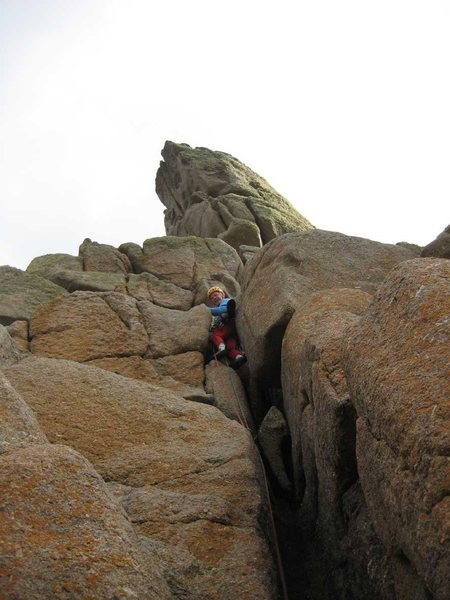 Rock Climbing Photo: Through the narrows on Pitch 1