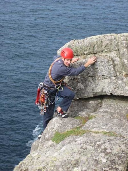 Jim exits the top of pitch 5 with all the style you would expect of a French climber