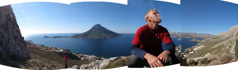 Practically postcard perfect pictures. Matt Nance onna smoke break, mulling over the vagaries of Kalymnian weather and about the 8b Euro honey he tried to send the night before...