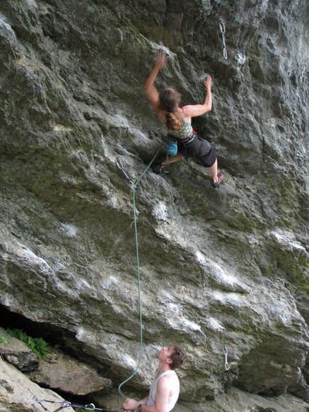 Nancy Lane on the shared start of Tin Man and Tin Monkeys - Henry Miller(Keith Becconsall) belaying