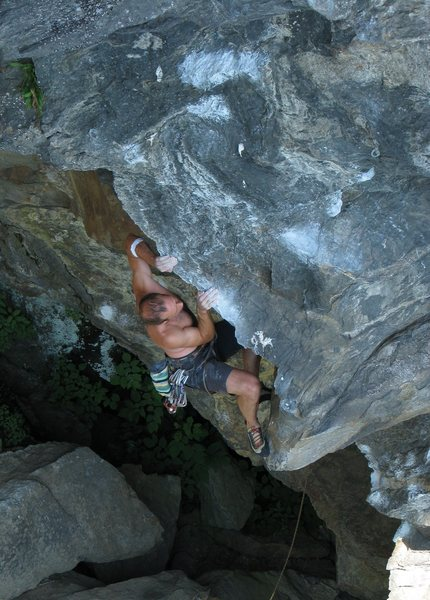 Rock Climbing Photo: Pulling over the top of the arete - climber - Patr...