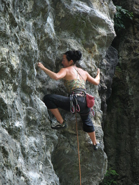 Rock Climbing Photo: Starting into the pump crux section - unknown Qué...