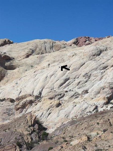 Normal photo showing climbers top of P2. Photo Carol Crockett.