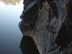 Rock Climbing Photo: Moving through the crux to the belay ledge.