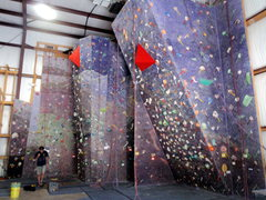 Rock Climbing Photo: The right half of the gym including the 27 degree ...