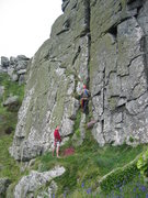Rock Climbing Photo: The start of Rosebud in June follows the cracks in...