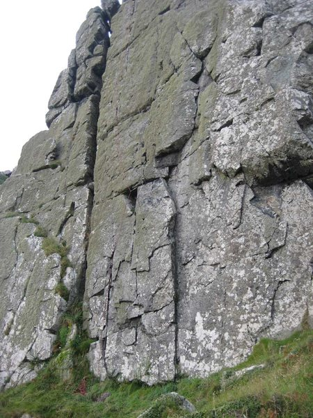Rosebud in June follows the line of the rope.  Royal Forester is the flaky crack on the right (photo by Phil Ashton)