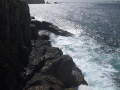 Rock Climbing Photo: The platform at the base of Sennen may be wave-was...