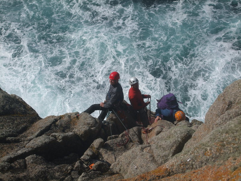 Rock Climbing Photo: Even easy routes at Sennen have impressive situati...