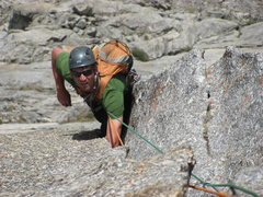 Rock Climbing Photo: Matt Hartman following the wide pitch on Black Elk...