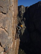 Rock Climbing Photo: Leading the 5.9R traverse.