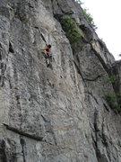 Rock Climbing Photo: Chuck heading up Mulot en Péril