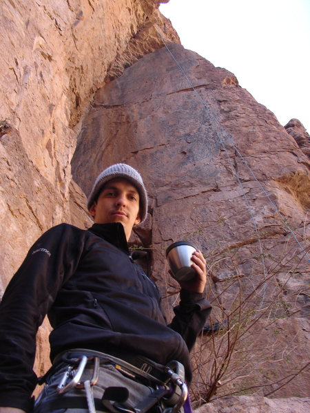 Rock Climbing Photo: Me before the route having some hot coco