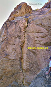 Rock Climbing Photo: Electric Dylan topo. Pitch 2 is the dotted line to...