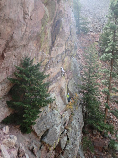 "Unknown climber just starting up ""Out to Lunge"", taken from top of 1st pitch of ""Blind Faith""."