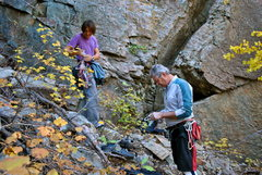 Rock Climbing Photo: The start of this contrived route is the thin crac...