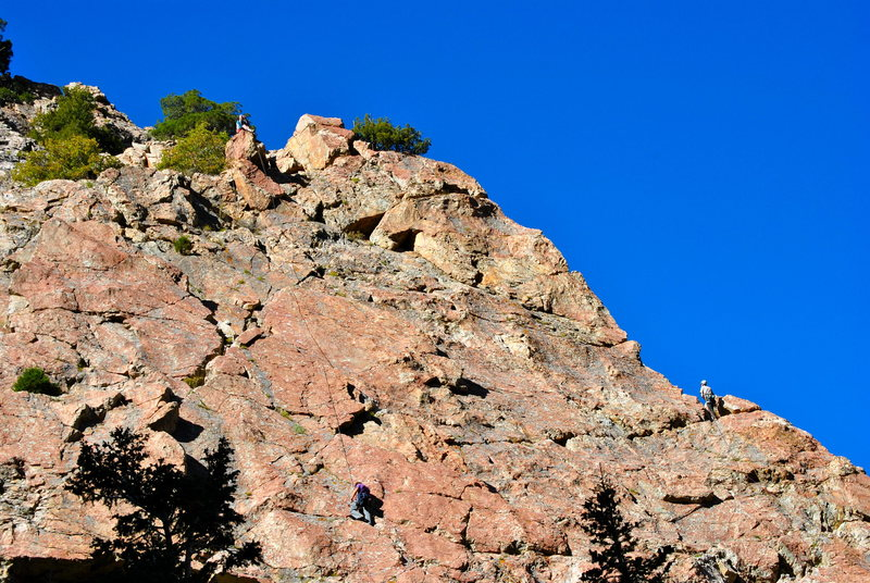 Summit belay and relationship with Steorts Ridge location.  Telephoto from across the talus slope - foreshortened.