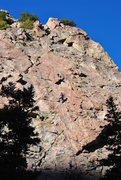 Rock Climbing Photo: Most of the route.  Summit block.  The hanging ver...