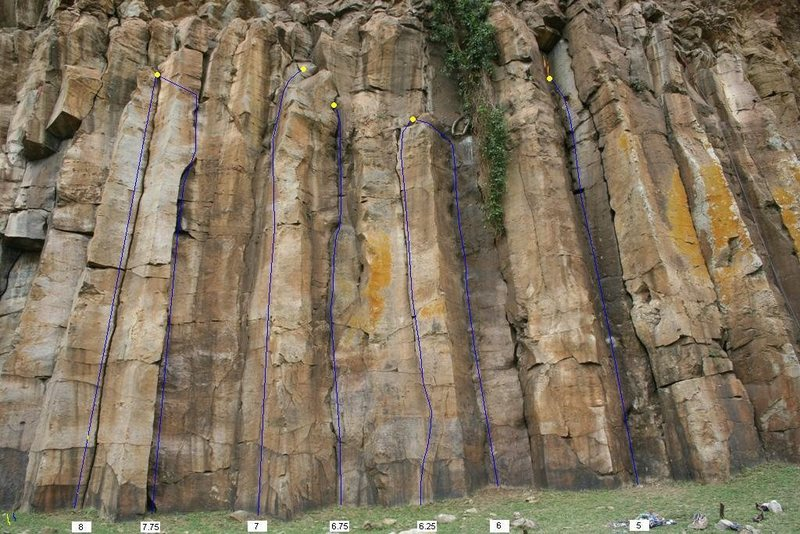 Rock Climbing Photo: The middle section of routes on the cliff